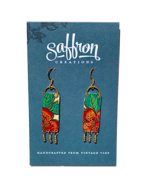 Saffron Earrings -- Fringed Bar Orange Green Floral