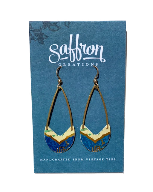 Saffron Earrings -- Linear Drop Blue and Gold
