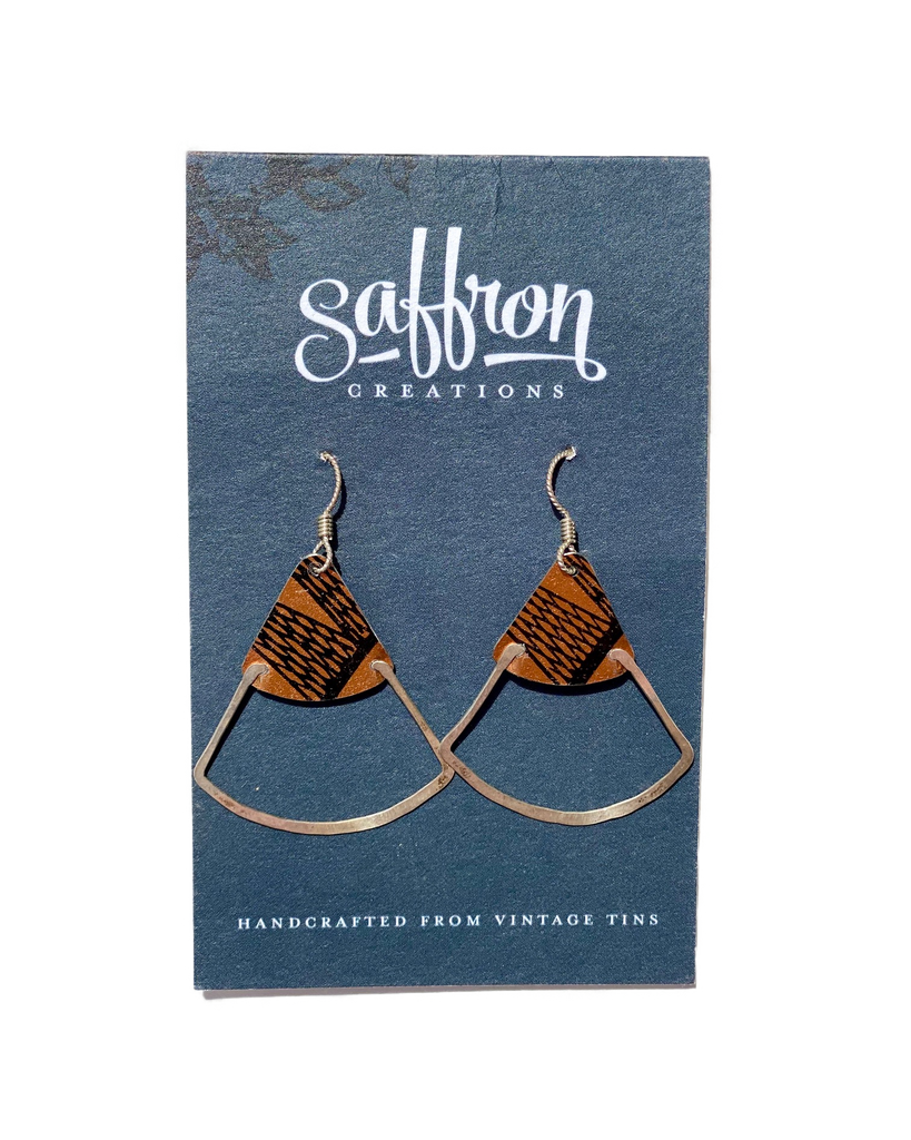 Saffron Earrings -- Deco Fan Bronze and Black