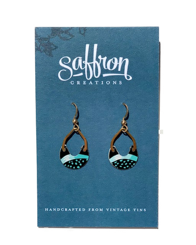 Saffron Earrings -- Tiny Keyhole Black and Blue