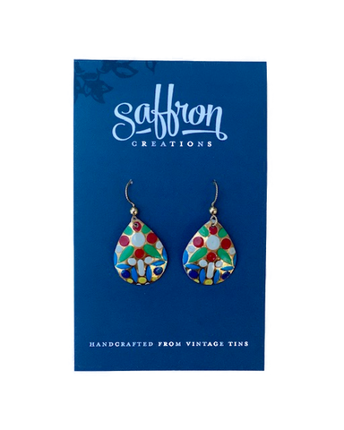 Saffron Teardrop Earrings -- Red, Green White, Blue