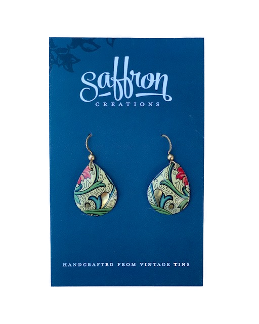 Saffron Teardrop Earrings -- White With Green Stems