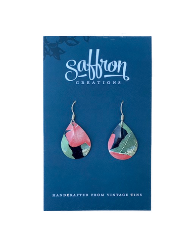 Saffron Teardrop Earrings -- Orange, Green, Black