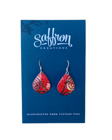 Saffron Teardrop Earrings -- Red and Gold