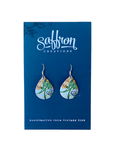 Saffron Teardrop Earrings -- Floral