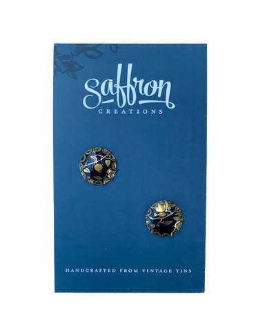 Saffron Post Earrings -- Black and Gold