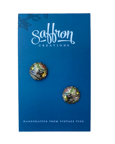 Saffron Post Earrings -- Gold and Multicolor