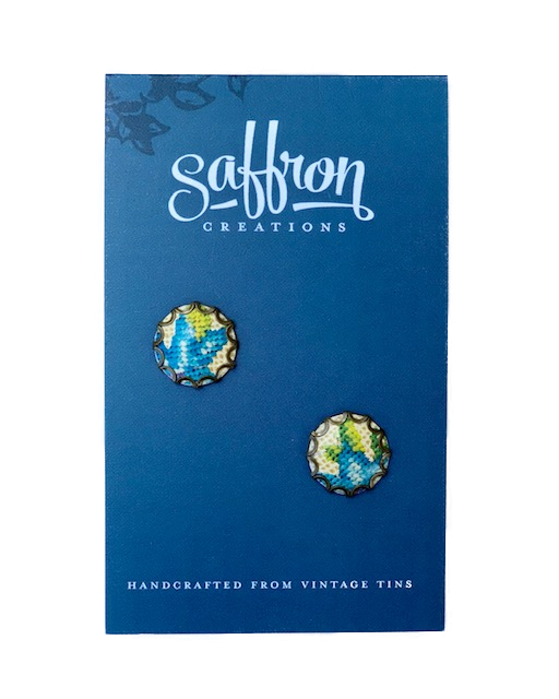 Saffron Post Earrings -- Blue, White, Green
