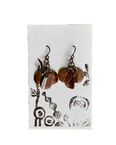 Earrings -- Cindy Cage Copper Dangling Discs