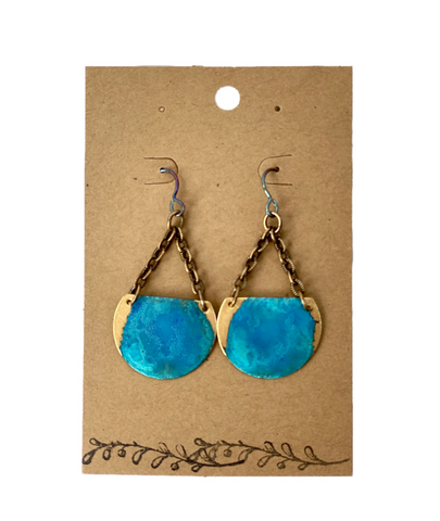 Sky Brass Crescent Earrings