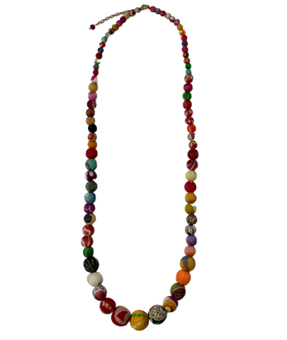 World Finds Kantha Graduated Bead Necklace (long)