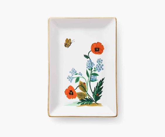Rifle Catch All Tray -- Poppy Botanical