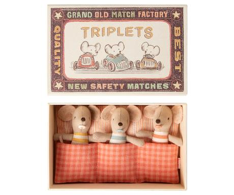 Maileg Baby Mice Triplets in a Match Box