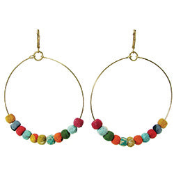 World Finds Kantha Beaded Hoops