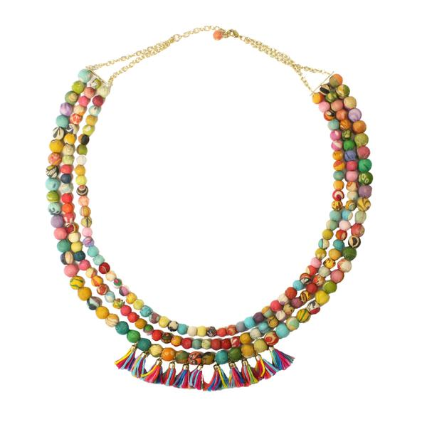 World Finds Kantha Triple Layer Fringe Necklace