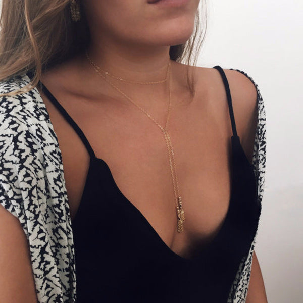 Gold Tassel Choker Necklace