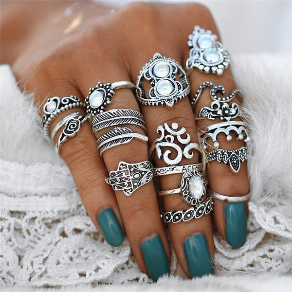 2019-Vintage Leaf Flower Ring Set