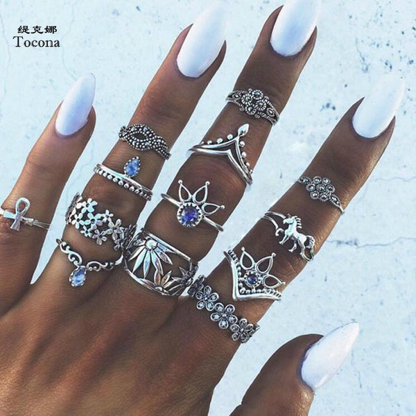 Tocona 13pcs/Set Bohemia Antique Silver Crown Flower Unicorn Carved Rings Sets RhineStone Knuckle Rings for Women Jewelry 4841