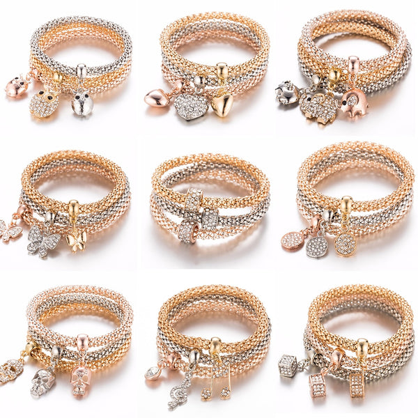2019 Triple Layer Charm Bracelet-3pcs