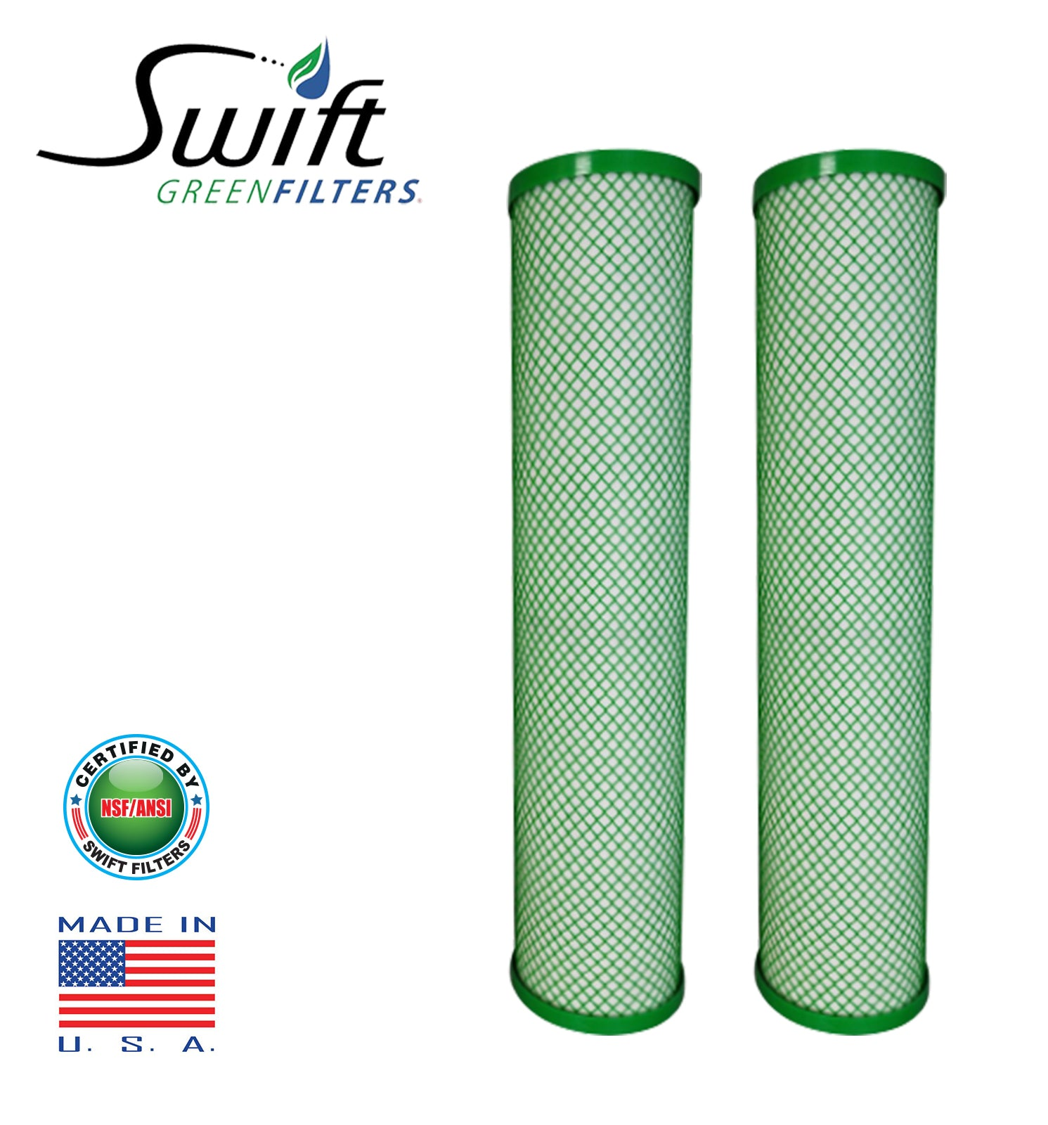 "Swift (SGFB10CYST) Replaces Filtrex FXB20CYST 10""x 4.50"" CYST Green Block Carbon Filter 1 Micron"