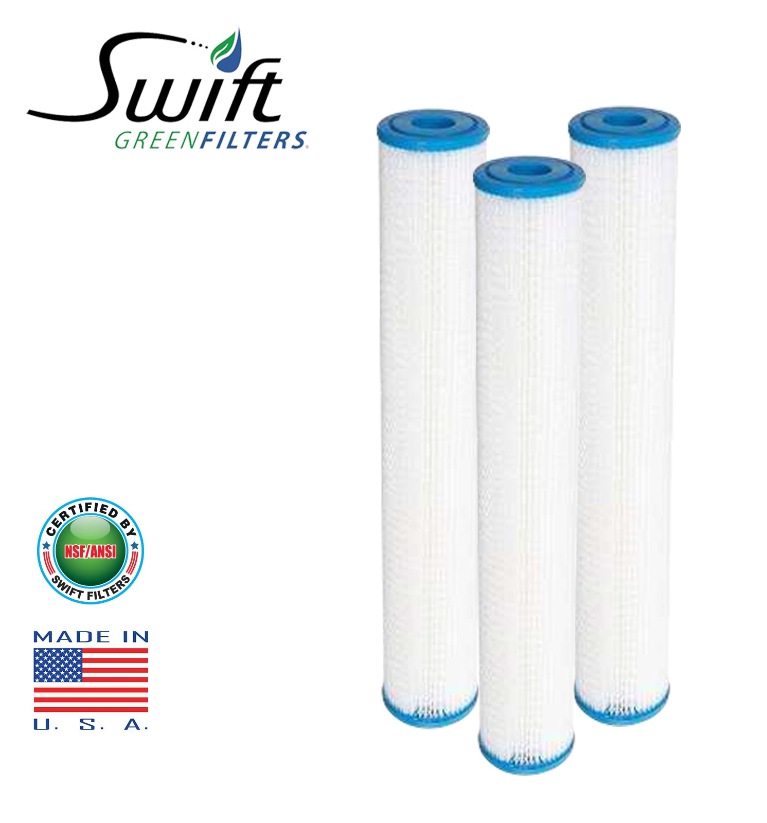 "50 Micron Polyester Pleated Washable Sediment Water Filter 2.5"" x 20"" by Swift Green Filters"