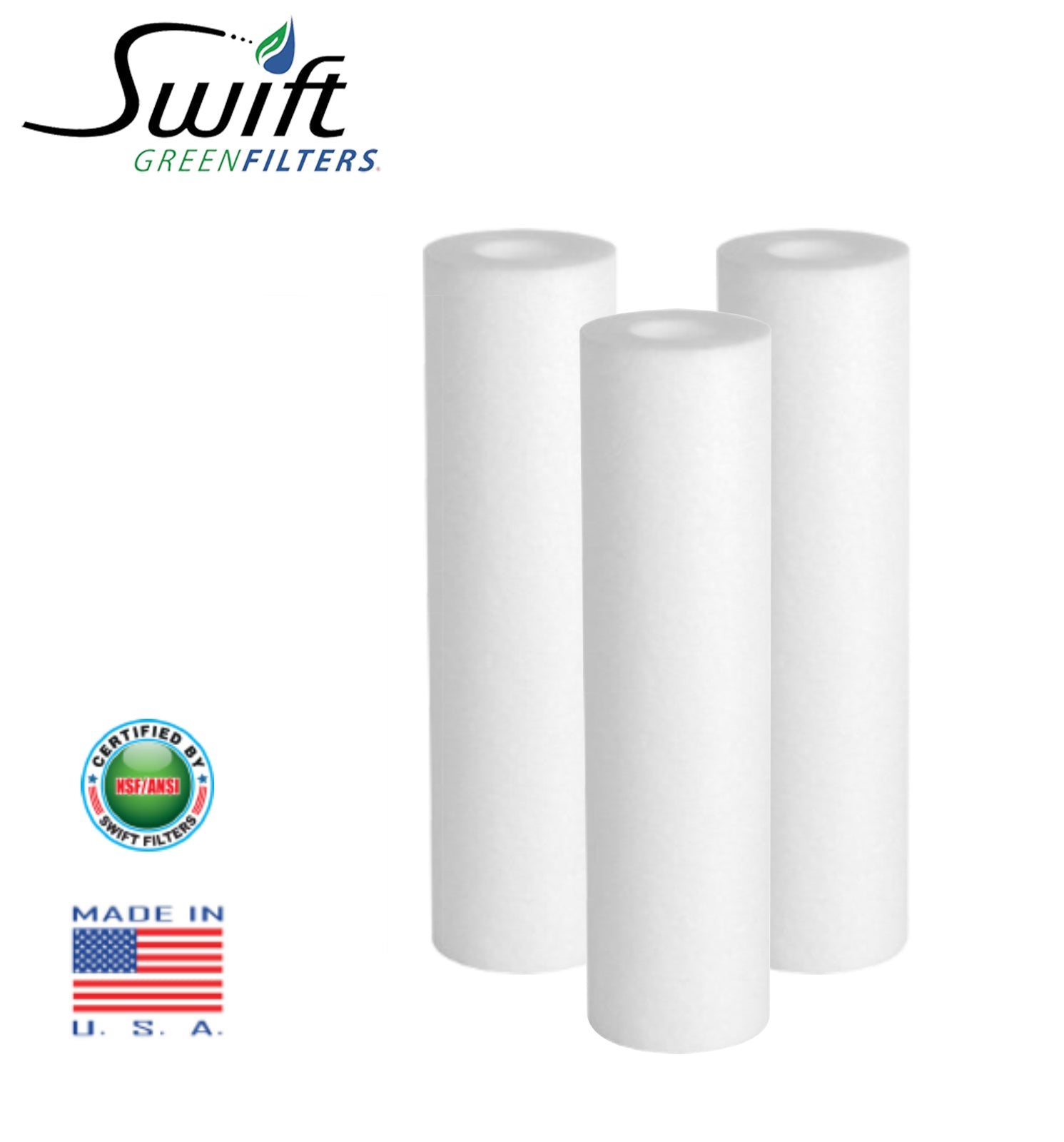 "1 Micron Sediment Water Filter Cartridge for Reverse Osmosis 2.5"" x 40"" by Swift Green Filters"