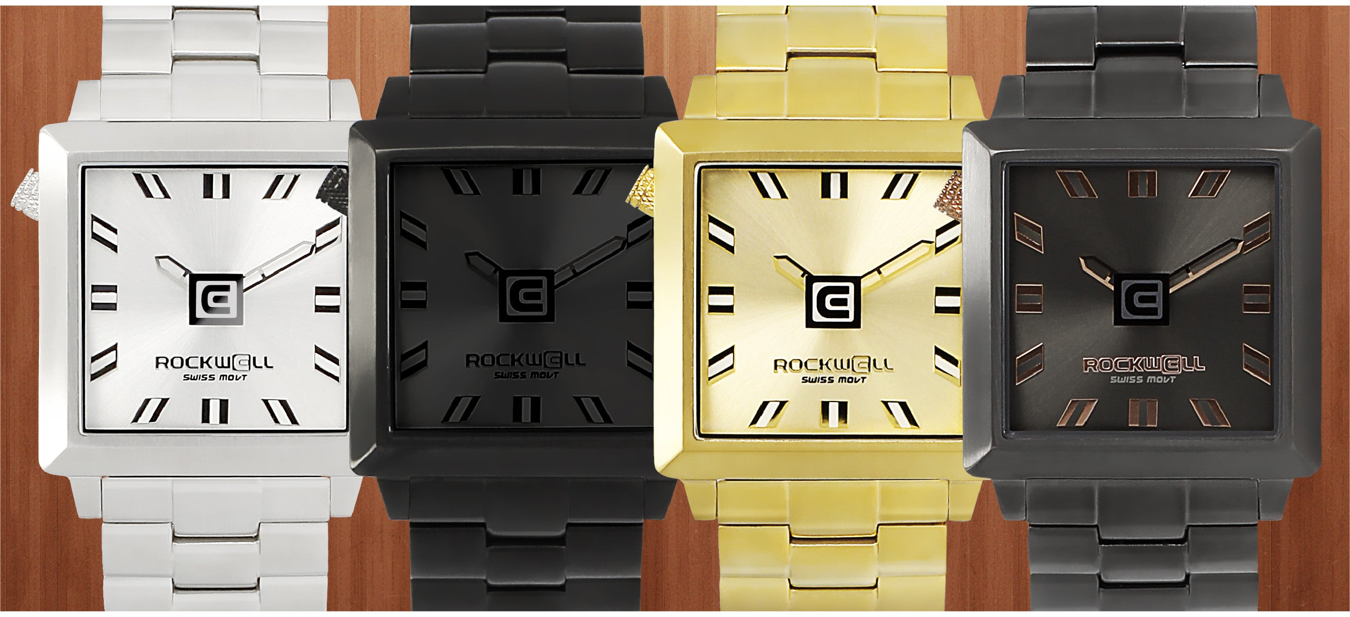 display of various 40 millimeter squared watches