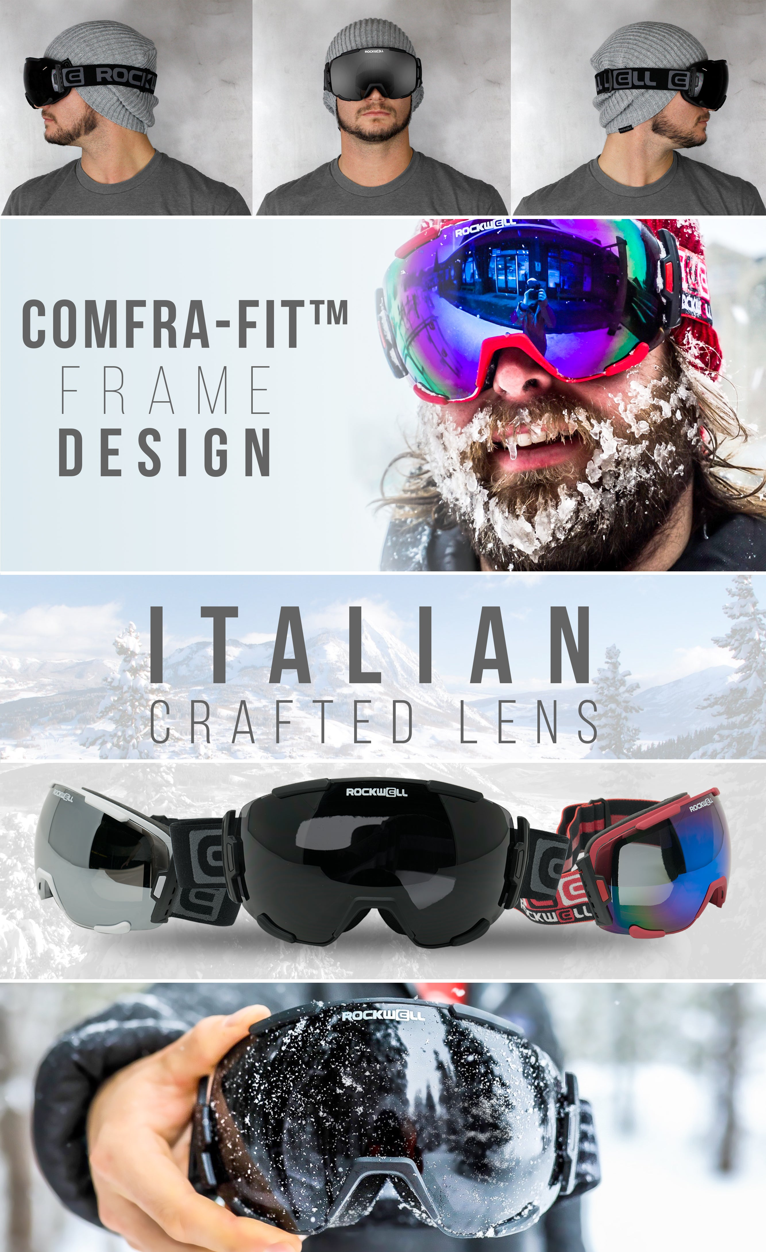 Guy Wearing Bomber Snow goggles and Italian Crafted lens