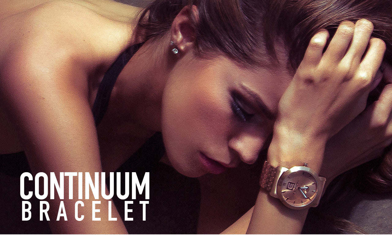 model wearing the cartel watch