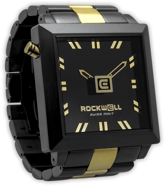 50mm Square Black Gold Watch