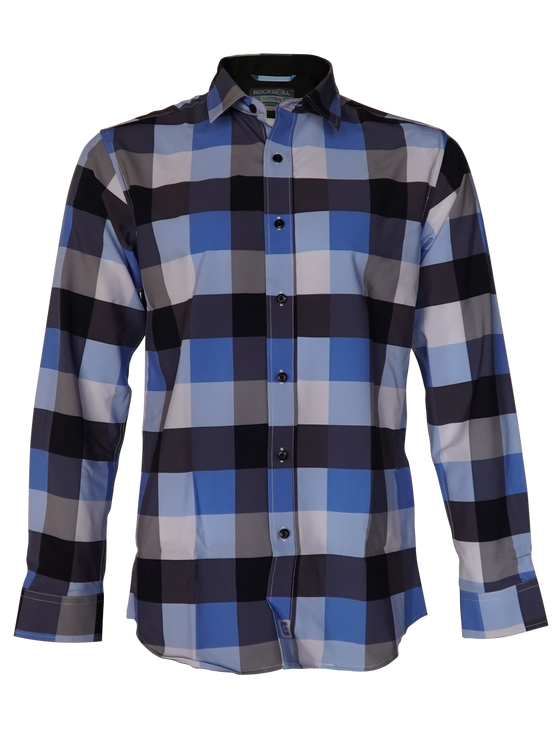 Blue Black white pattern dress shirt