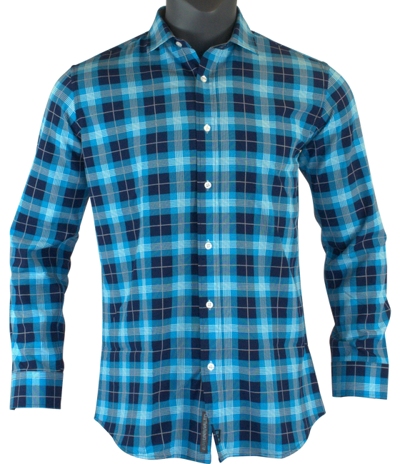 Blue Plaid Titan Button Up Shirt Long Sleeve