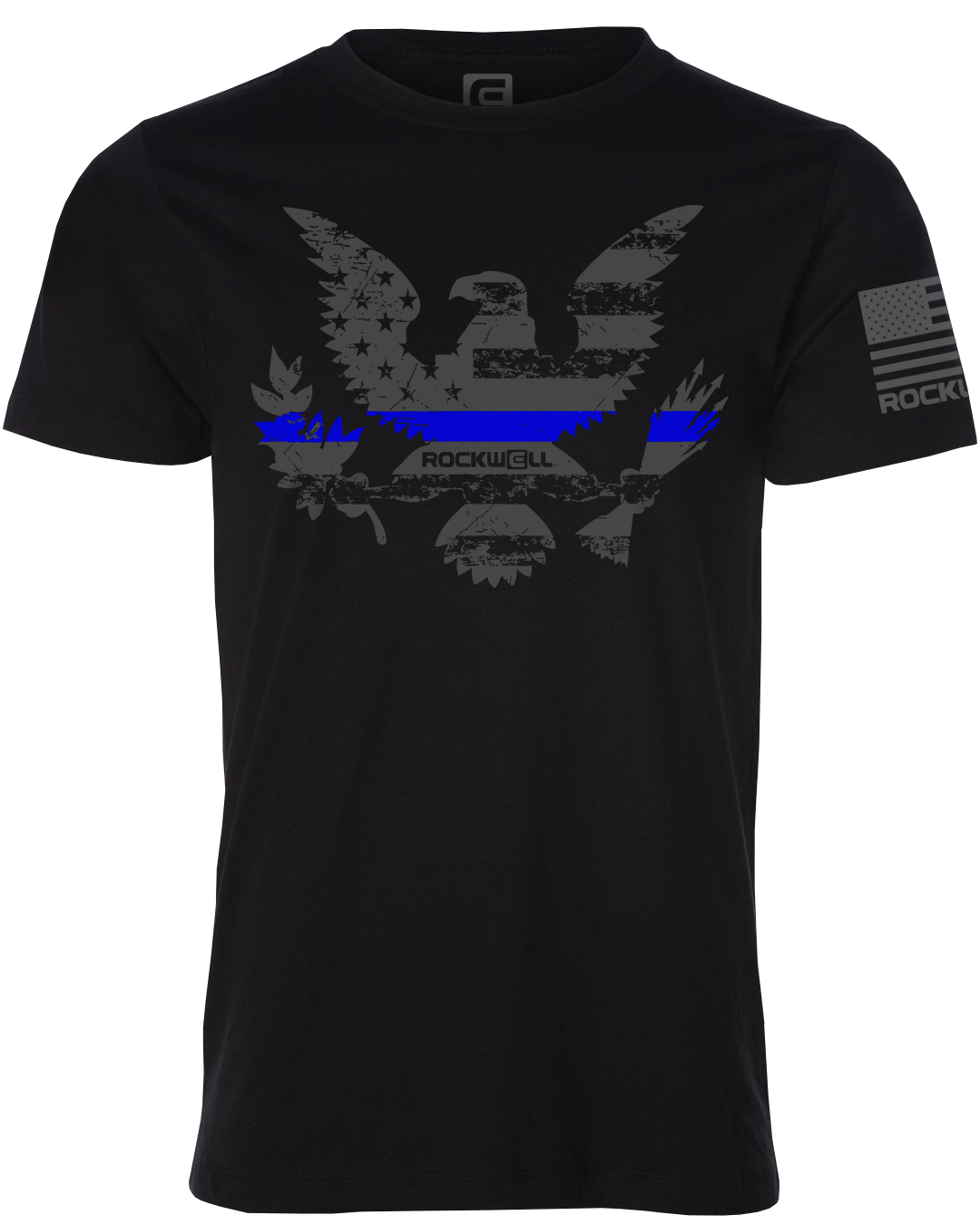 Thin Blue Line American Flag Eagle Rockwell Shirt Front