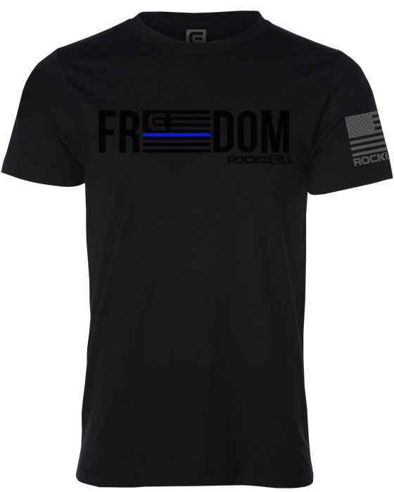 Thin Blue Line Flag Freedom Rockwell Black Shirt Front