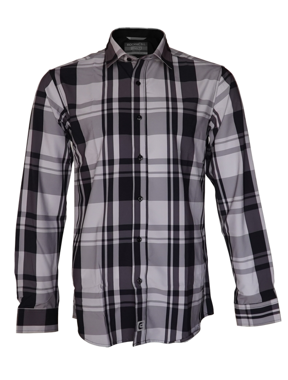 Black Pattern Plaid Titan Dress shirt