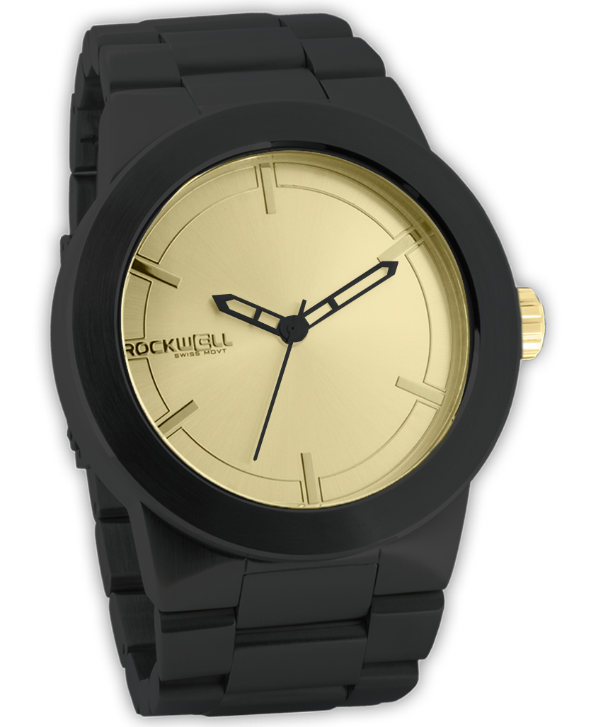 Black Maverick Watch with Gold Dial