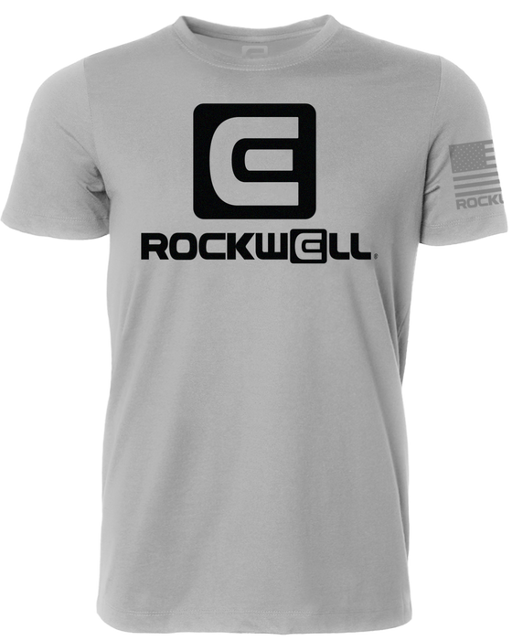 Rockwell Stacked Logo Gray T Shirt Front