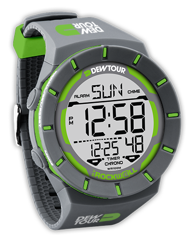 Coliseum rubber digital watch Grey with Green Dew Tour logo printed on band.