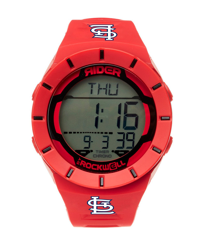 MLB Cardinals Coliseum Digital watch Red with Cardinals logo printed on band