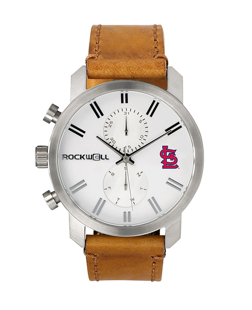 MLB Cardinals Apollo Silver bezel white dial with logo and Carmel leather band