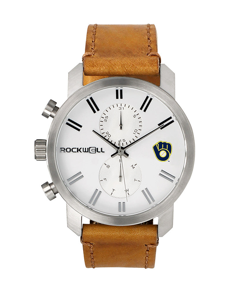 Brewers Apollo Silver bezel White dial with Brewers logo printed on dial with Carmel leather band