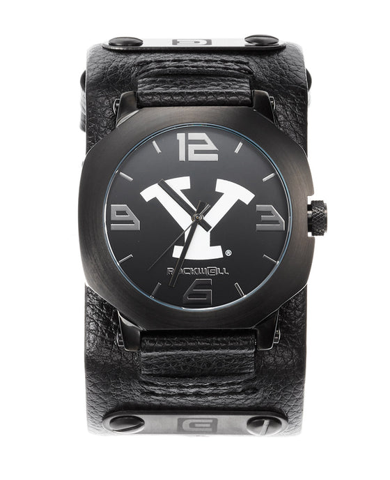 BYU assassin watch black leather with BYU dial print
