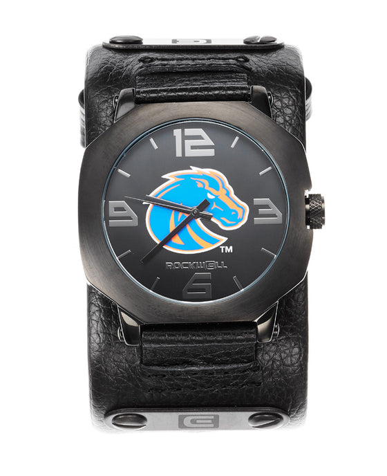 Boise State University Assassin watch black leather with Black BSU dial