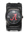 Assassin Alabama logo on dial black leather band 45mm watch