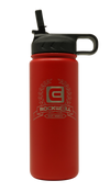 18 oz Valor Red Rockwell Warrior flask water bottle with Straw lid