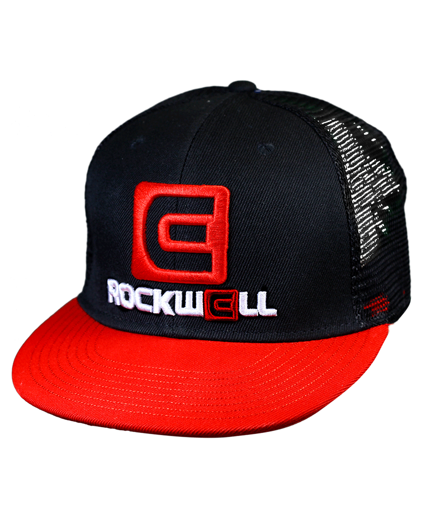 Snapback Trucker Hat OG Stacked logo Black/Red mesh back