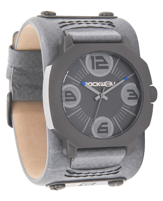 Assassin Gunmetal Gray with Gray Leather Band
