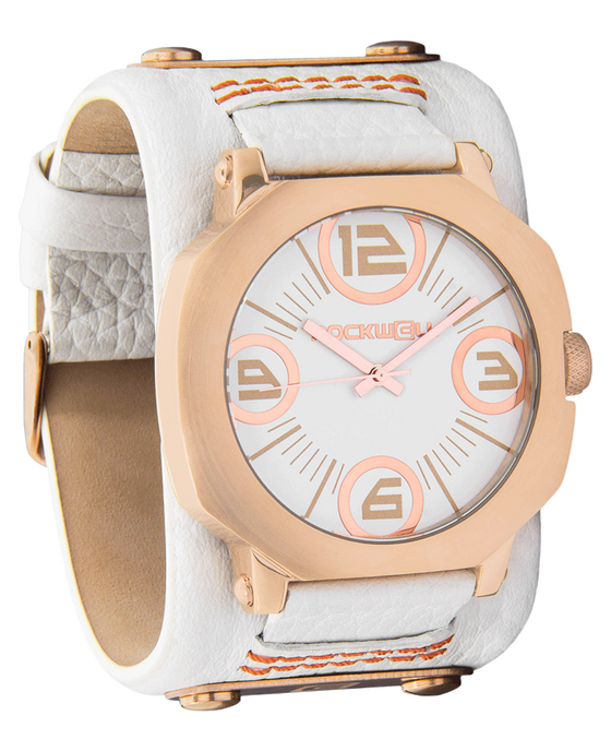 Assassin Rose Gold with White Dial and White Leather Band