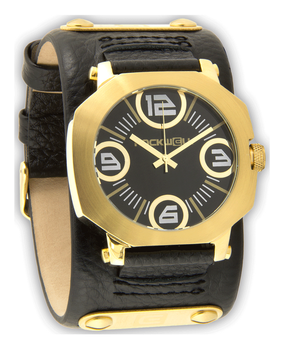 Assassin Gold Watch with Black Dial and Leather Band