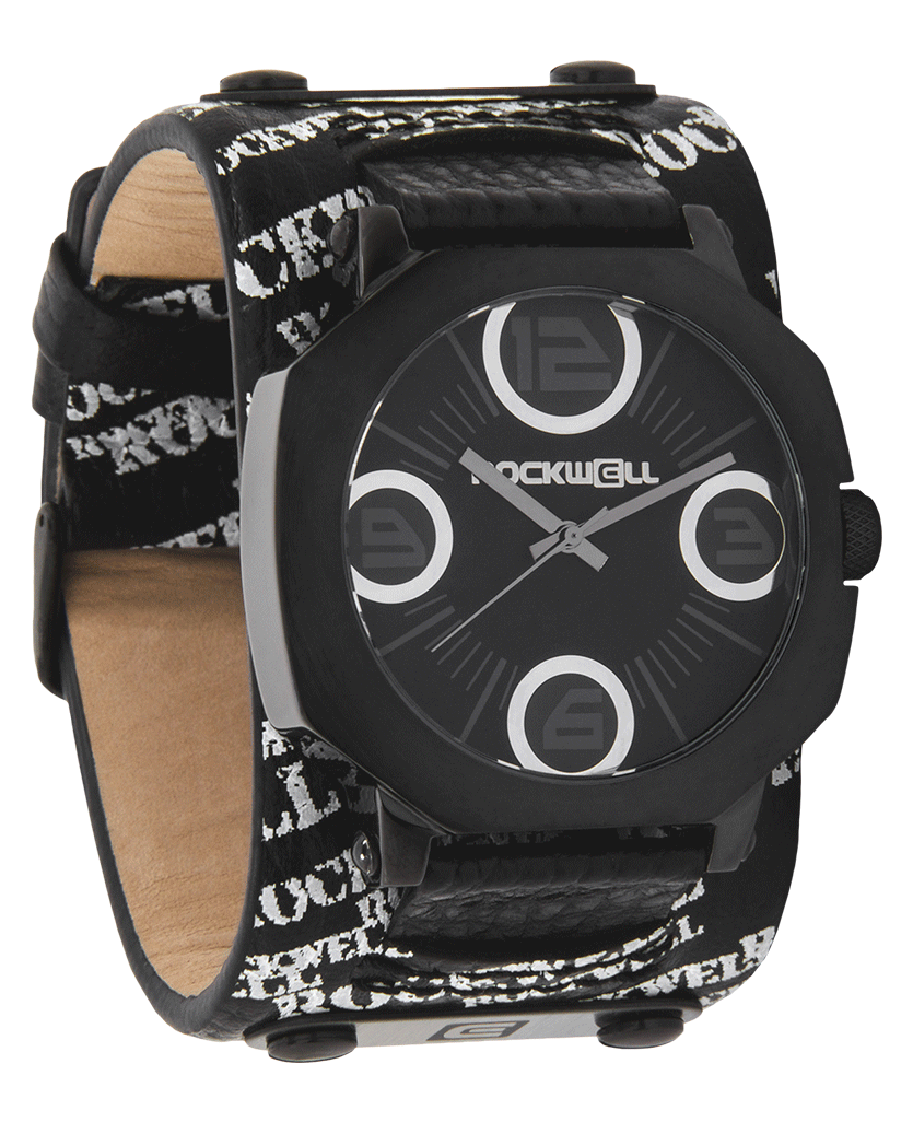 Assassin Black Watch with White Rockwell Print on a Black Leather Band
